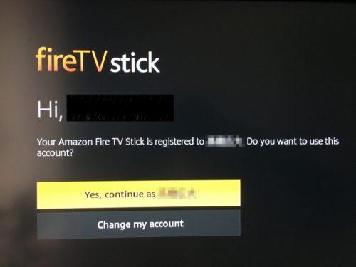 Fire TY Stickのアカウント確認の画面