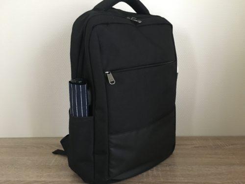 XQXAのビジネスリュックのサイドポケットに折りたたみ傘